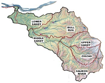 Map the the Sandy River Watershed