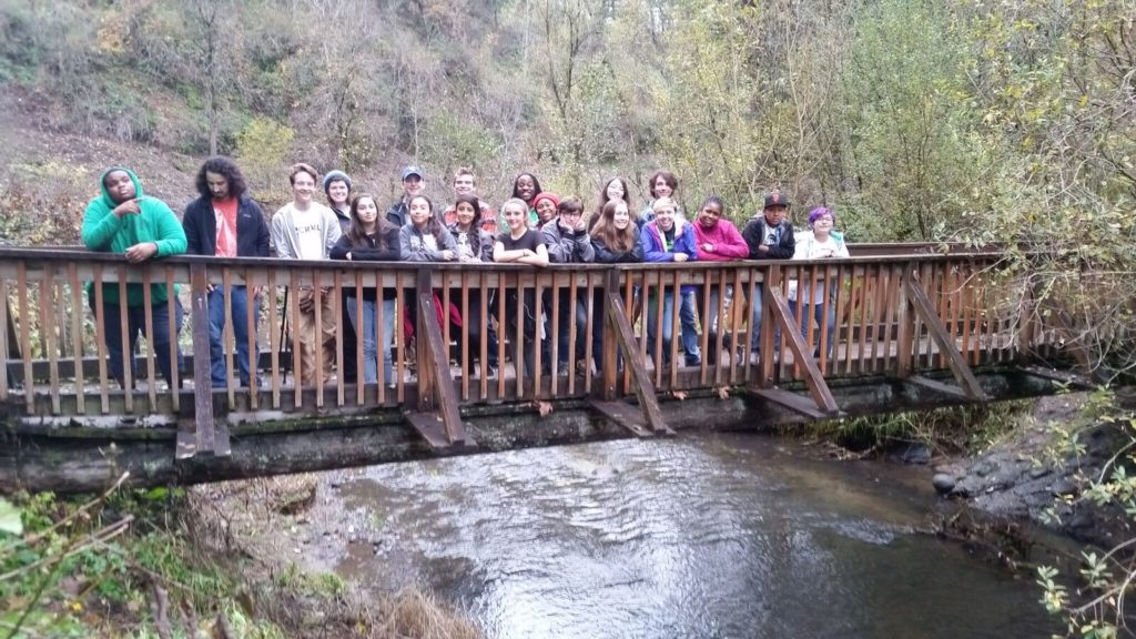 Students on the bridge in the Beaver Creek Canyon.