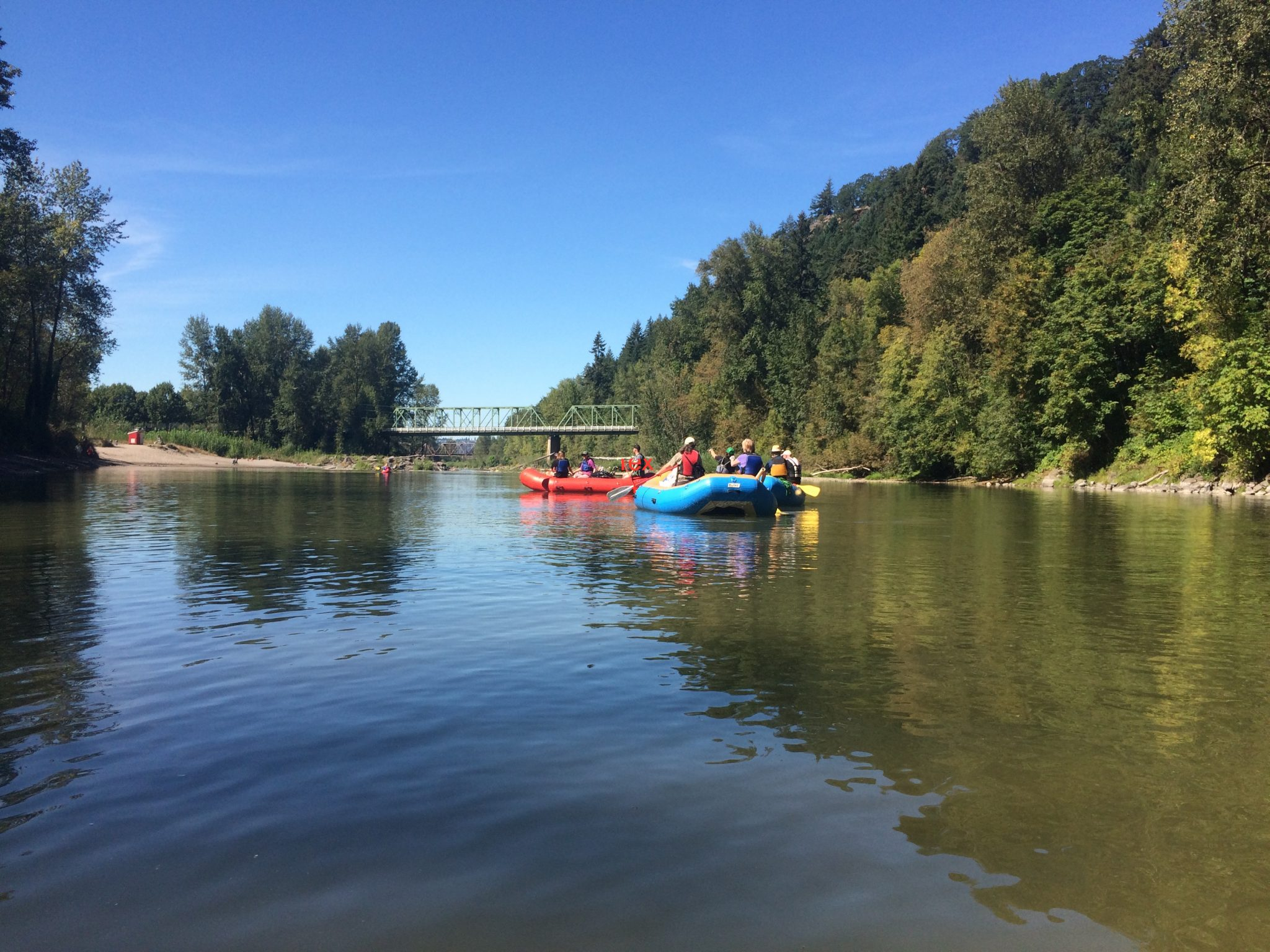 Rafts on the Sandy River