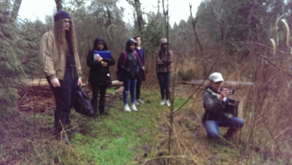 Students standing in the forest